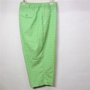 Talbots Heritage Capri Pants Green White Print